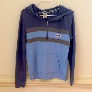 PINK Victoria Secret Blue Zip Up Sweatshirt